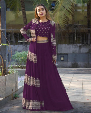 Purple Color Georgette With Silk Inner Embroidered Work Semi-stich Free Size Koti Lehenga