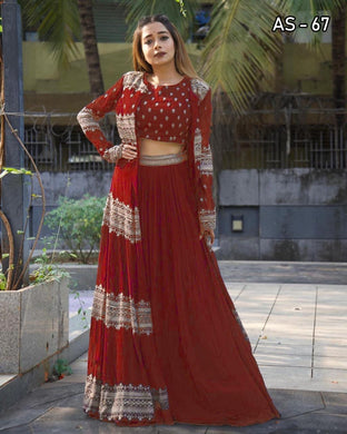 Red Color Georgette With Silk Inner Embroidered Work Semi-stich Free Size Koti Lehenga