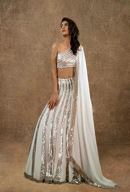 White Color Blooming Georgette With Sequins Embroidered Work Lehenga