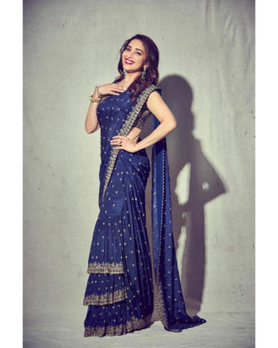 Blue Saree Georgette With Embroidery Work With Raffle Saree