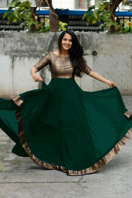 Bottle Green Color Heavy Georgette With Full Inner Attached Full Stitichded