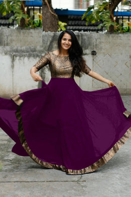 Wine Color Heavy Georgette With Full Inner Attached Full Stitichded