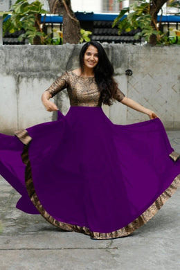 Jambuni Purple Heavy Georgette With Full Inner Attached Full Stitichded