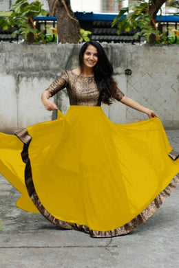 Yellow Color Heavy Georgette With Full Inner Attached Full Stitichded