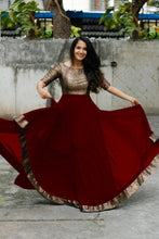 Maroon Color Heavy Georgette With Full Inner Attached Full Stitichded