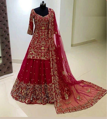 Red Color Georgette With Heavy Embroidery Work With Sleeves Lahenga