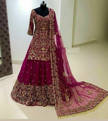 Rani Color Georgette With Heavy Embroidery Work With Sleeves Lahenga