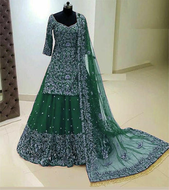 Green Color Georgette With Heavy Embroidery Work With Sleeves Lahenga