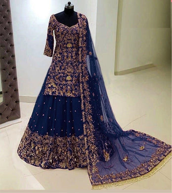 Blue Color Georgette With Heavy Embroidery Work With Sleeves Lahenga