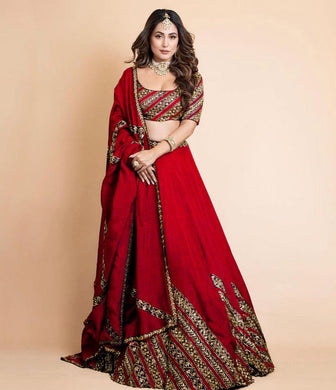 Red Color Gorgette Satin Embroidery With Sequnce Lehengha Choli With Dupata