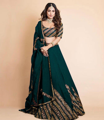 Green Color Gorgette Satin Embroidery With Sequnce Lehengha Choli With Dupata