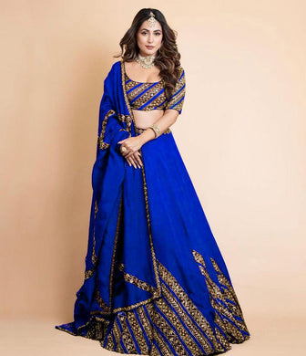 Royal Blue Gorgette Satin Embroidery With Sequnce Lehengha Choli With Dupata