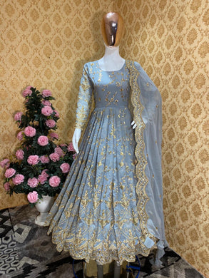 ▶️ Grey Georgette With Embroidery Up To 42 Xl Free Size (fully Stitched)bottom ( Unstitched)salwar