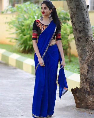 Blue Color Soft Georgette Saree With Full Embroidery Less & Mirror Work(blouse Stitched)