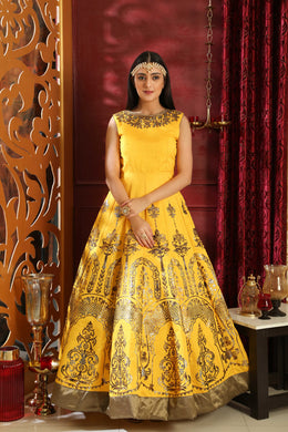 Together Lovely Yellow Silk Metalic Foil & Cutdana Zardosi Hand Work With Angelic Fairly Long Gow