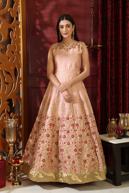 Symmetrical Peach Silk Sequnce & Cutdana Resham Hand Work With Great Fairly Long Gown