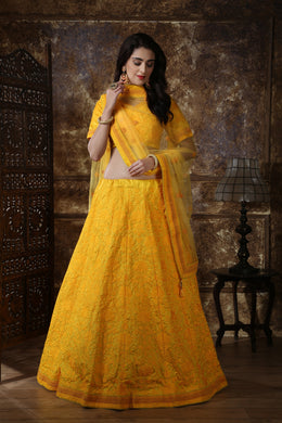 Yellow Designer Silk Lehengha