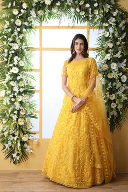 Yellow Designer Net Gown