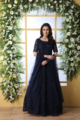 Navy Blue Designer Net Gown
