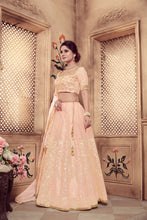 Virtuoso Peach Soft Organza Cutdana Pearl & Zari Embroidered Work With Hot Lahenga Choli