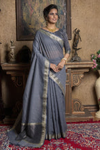 Gray Linen Silk Saree With Zari Woven Pallu