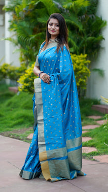 Blue Cotton Silk Saree With All Over Jequared Weaving Butti