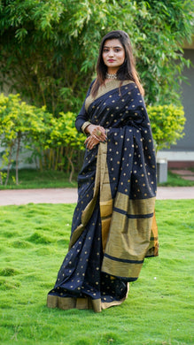 Black Cotton Silk Saree With All Over Jequared Weaving Butti