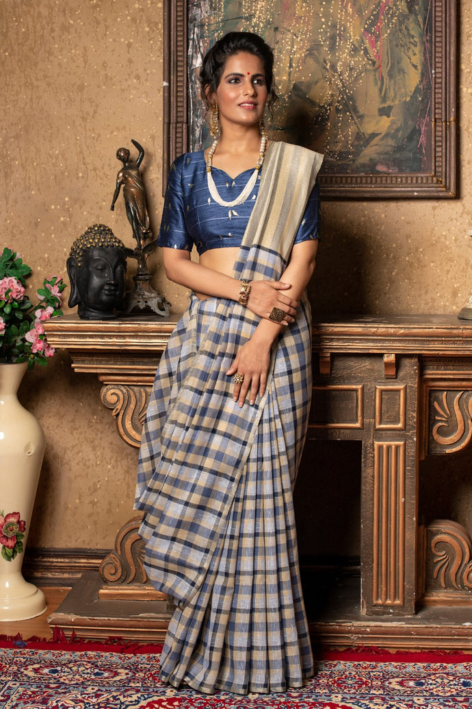Navy Linen Saree With Different Beautiful Designs