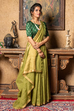 Mehendi Linen Saree With Different Beautiful Designs