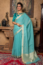 Skyblue Linen Saree With Different Beautiful Designs