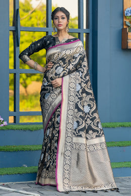 Black Banarasi Silk Weaving Saree With Silver Zari