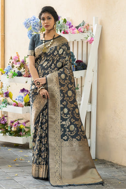 Black Banarasi Silk Saree With Zari Pallu