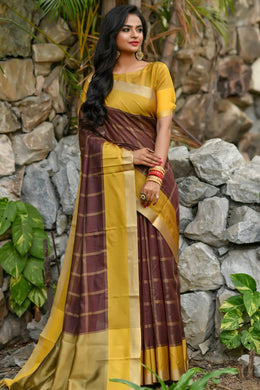 Brown Chanderi Cotton Weavin Saree With Zari Pallu