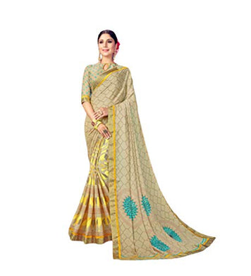 Chiku Fancy Pedding Printed Half And Half Sarees With Blouse Piece