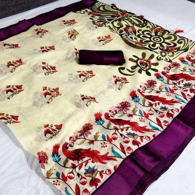 Women's Multi Color Cotton Printed Saree With Sartin Border And Running Blouse
