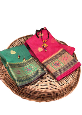 Ota Doriya Weaving Sarees With German Metal Pendent Necklace For Women And Girls-pink-11