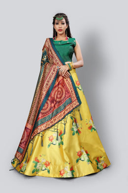Shiny Satin Floral Print Semi-stitched Lehenga & Blouse With Digital Print Dupatta