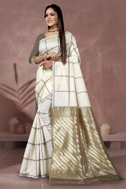 White Color Party Wear Beautiful Saree On Pure Lichi Silk Collection Banarasi Style Saree