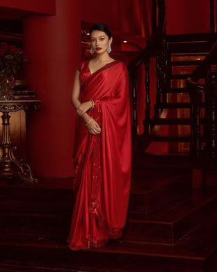 Red Color Party Wear Beautiful Saree On Pure Lichi Silk Collection Banarasi Style Saree