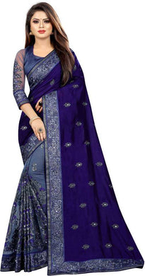 Blue Color Silk+net Material Embroidary Work