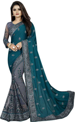 Embroidered Fashion Vichitra, Net Saree (blue)