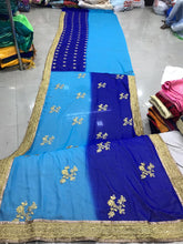 Blue Color Pedding Georgette Material Coding Embroidary Work Saree