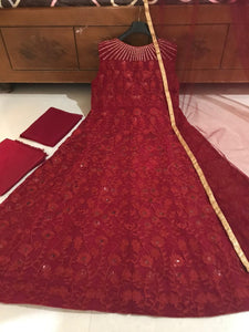 Pasmina Red Designer Gown