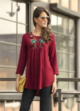 Red Color Heavy 14kg Reyon Kurti