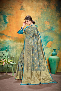 Somthings Blue Jacquard Silk Traditional Print Work Smooth Saree