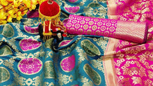 Desire Sky Blue Heavy Banarasi Silk Hand Woven Patola With Solid Saree Collection