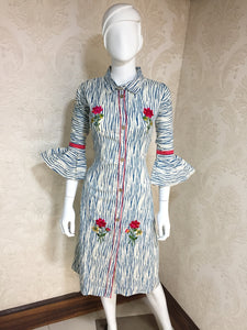 New Latest Embroidered Blue&white Color Cotton Readymade Kurti