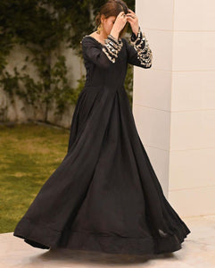 Bollywood Style Black Color Party Wear Designer Embroidery Work Salwar Kamiz Dupatta