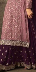 Heavy Pink Color Faux Georgette Bridal Embroidered Plazzo Suit