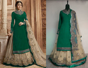 Green Color Wedding Party Wear Faux Georgette With Embroidery Plazzo Suit